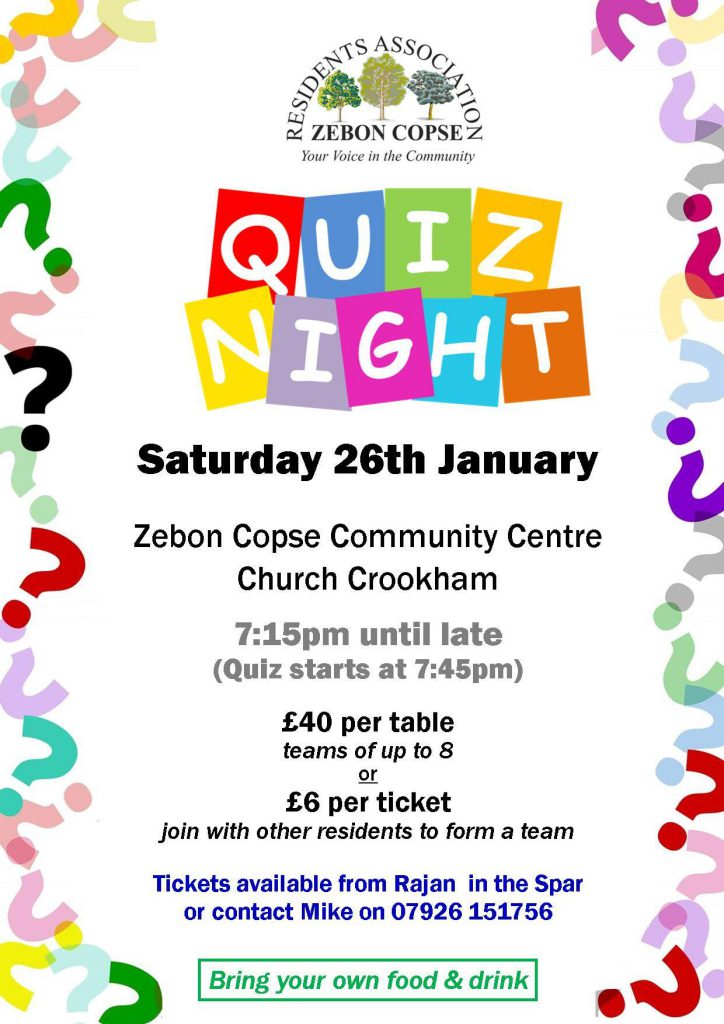 Quiz Night 26/1/2019